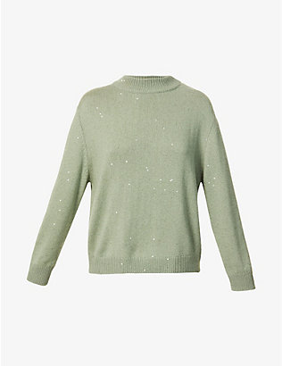 BRUNELLO CUCINELLI: High-neck sequin-embellished cashmere and silk-blend jumper