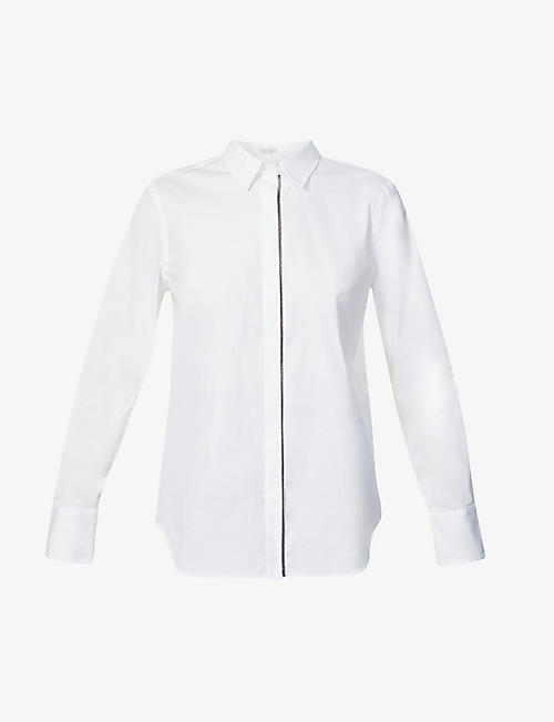 BRUNELLO CUCINELLI: Metallic-trimmed cotton-blend shirt