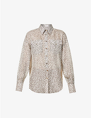 BRUNELLO CUCINELLI: Floral-print relaxed-fit silk shirt