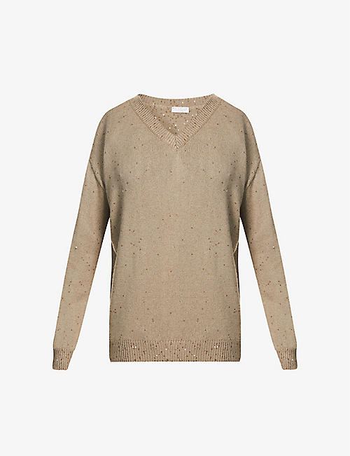 BRUNELLO CUCINELLI: Sequin-embellished cashmere and silk-blend jumper