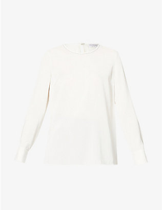 BRUNELLO CUCINELLI: Bead-embellished silk-blend crepe top