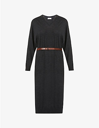 BRUNELLO CUCINELLI: Belted wool and cashmere-blend midi dress