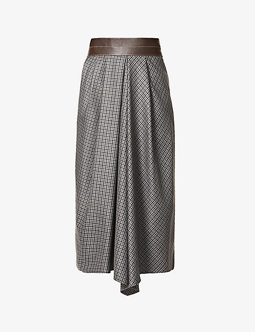 BRUNELLO CUCINELLI: Checked high-rise wool and leather midi skirt