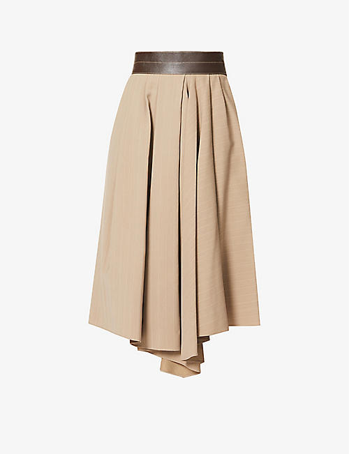 BRUNELLO CUCINELLI: Pinstripe high-waist wool-blend midi skirt