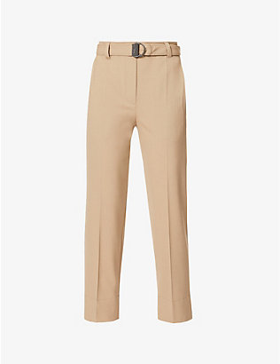 BRUNELLO CUCINELLI: Belted tapered cropped wool-blend trousers