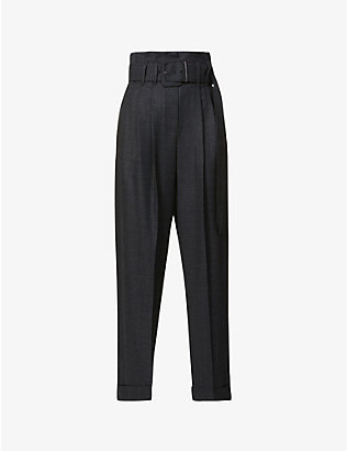 BRUNELLO CUCINELLI: Belted straight-leg high-rise stretch-wool trousers