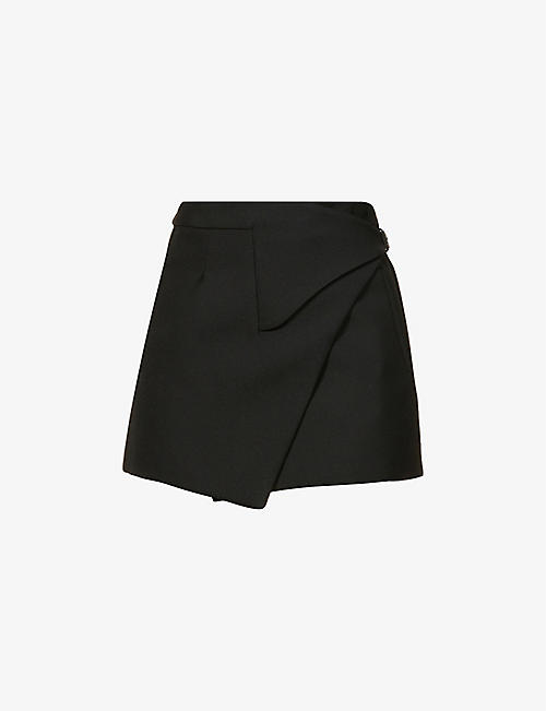 WARDROBE.NYC: Wrap-front wool mini skirt