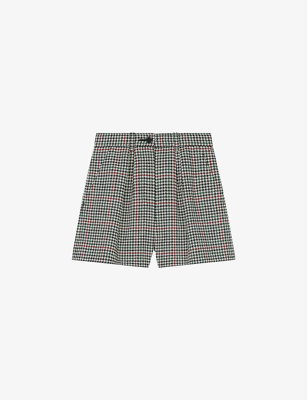 MAJE: Ioldita checked woven shorts