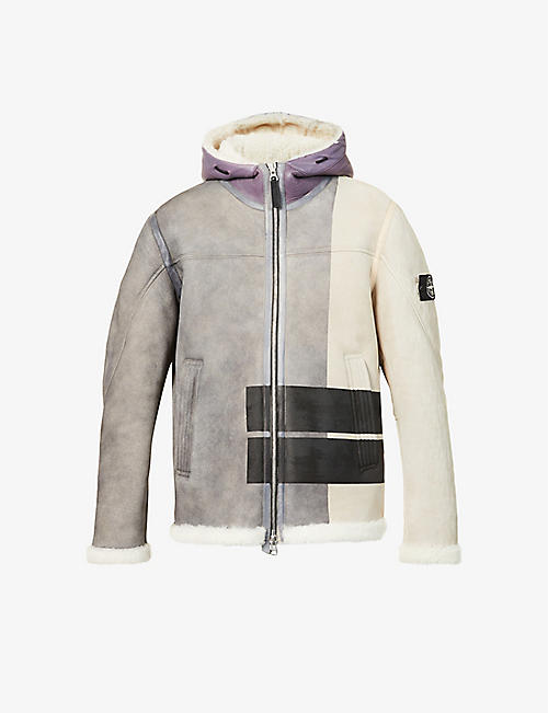 STONE ISLAND: Patchwork shearling-lined suede jacket
