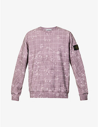 STONE ISLAND: Dust Laser graphic-print stretch-cotton sweatshirt