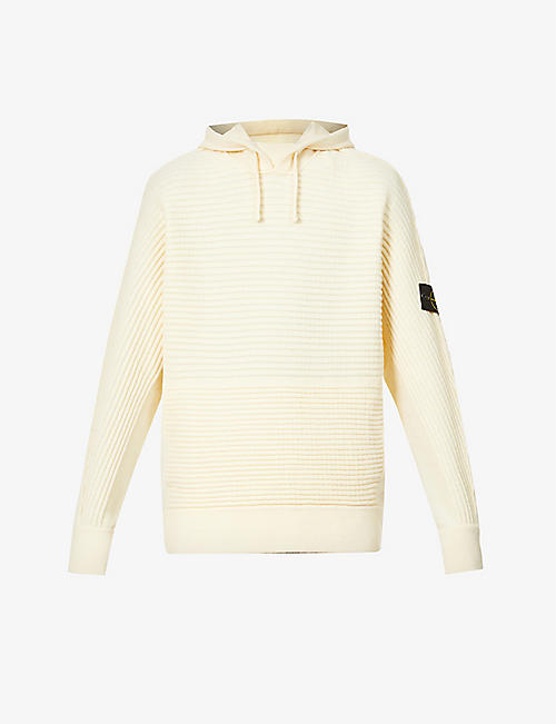 STONE ISLAND: Relaxed-fit ribbed wool-blend hoody