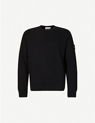 STONE ISLAND: Brand-patch crewneck cotton-jersey sweatshirt