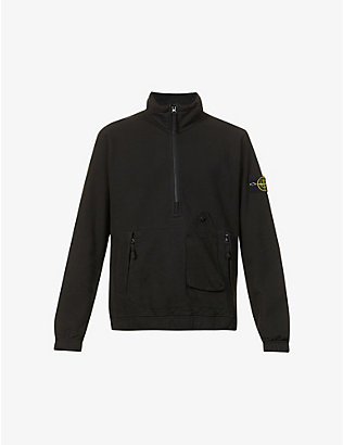 STONE ISLAND: Brand-patch high-neck cotton-jersey sweatshirt