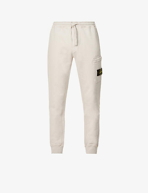 STONE ISLAND: Pocket badge cotton-jersey jogging bottoms