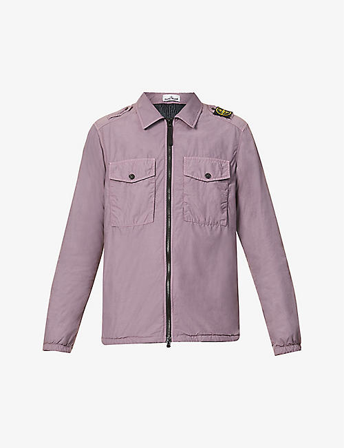 STONE ISLAND: Brand-epaulette faded shell jacket