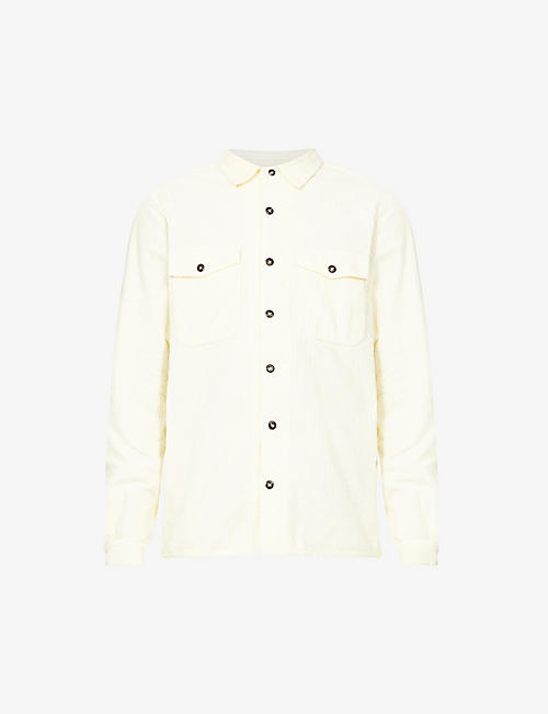 STONE ISLAND: Long-sleeved regular-fit cotton-corduroy shirt