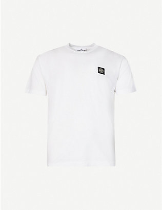 STONE ISLAND: Logo-patch crewneck cotton-jersey T-shirt