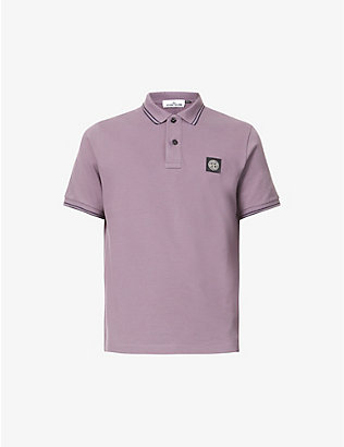 STONE ISLAND: Stripe collar stretch-cotton polo shirt