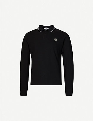 STONE ISLAND: Striped-trim logo-patch cotton-piqué polo shirt