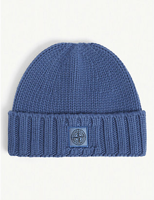 STONE ISLAND: Logo-embroidered cab-knit wool beanie