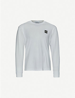 STONE ISLAND: Long sleeve logo patch cotton T-shirt