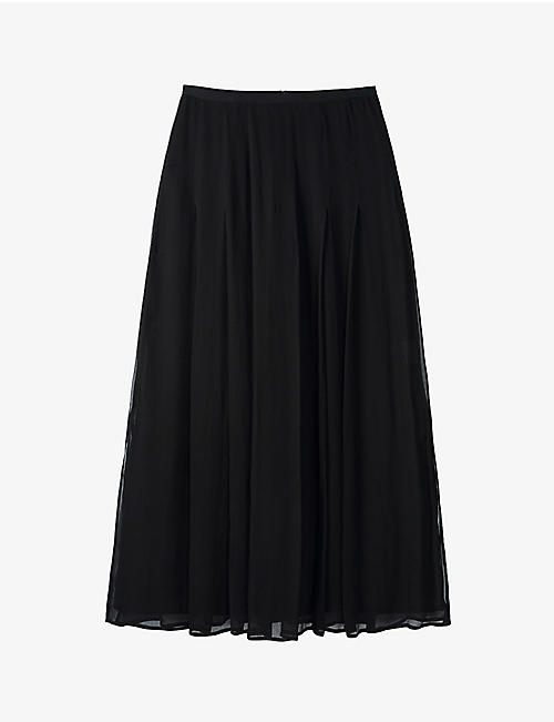 THE WHITE COMPANY: Georgette pleated satin midi skirt