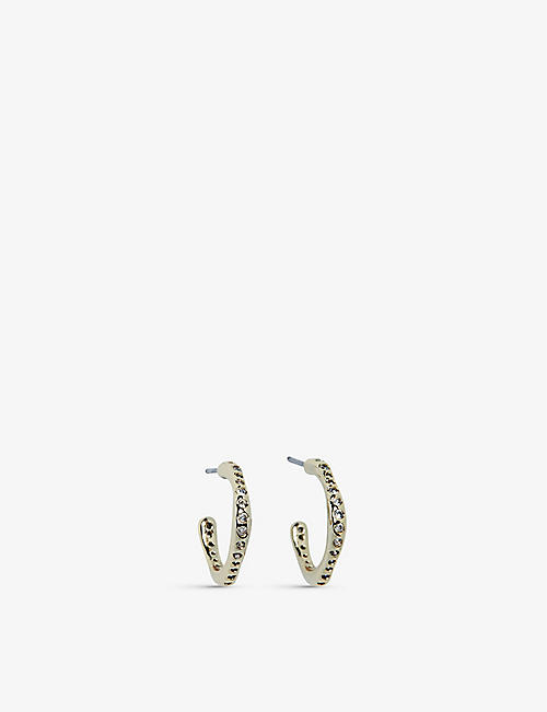 THE WHITE COMPANY: Gold-plated and cubic zirconia hoop earrings
