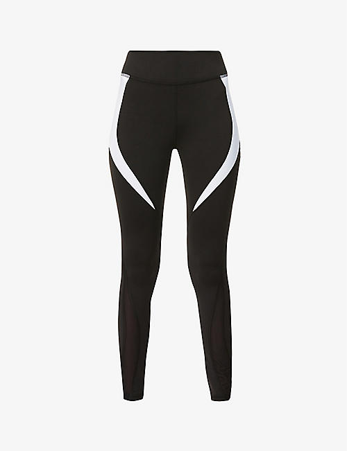 MICHI: Flare contrast-panel high-rise stretch-jersey leggings