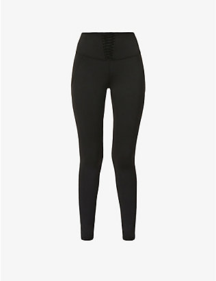 MICHI: Nero corset high-rise stretch-jersey leggings