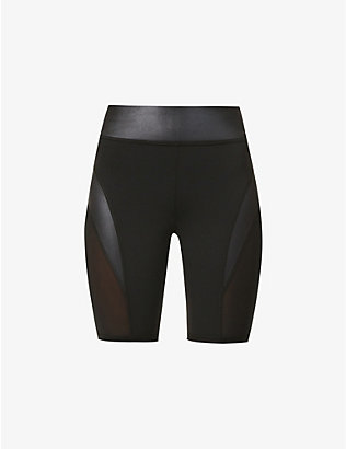 MICHI: Raven mesh-panel high-rise stretch-jersey shorts