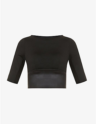 MICHI: Riva cut-out crop stretch-jersey top