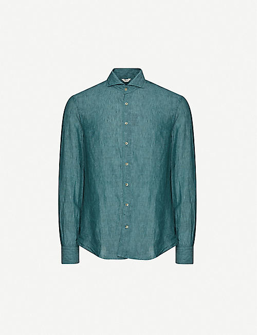 STENSTROMS: Slim-fit washed linen shirt