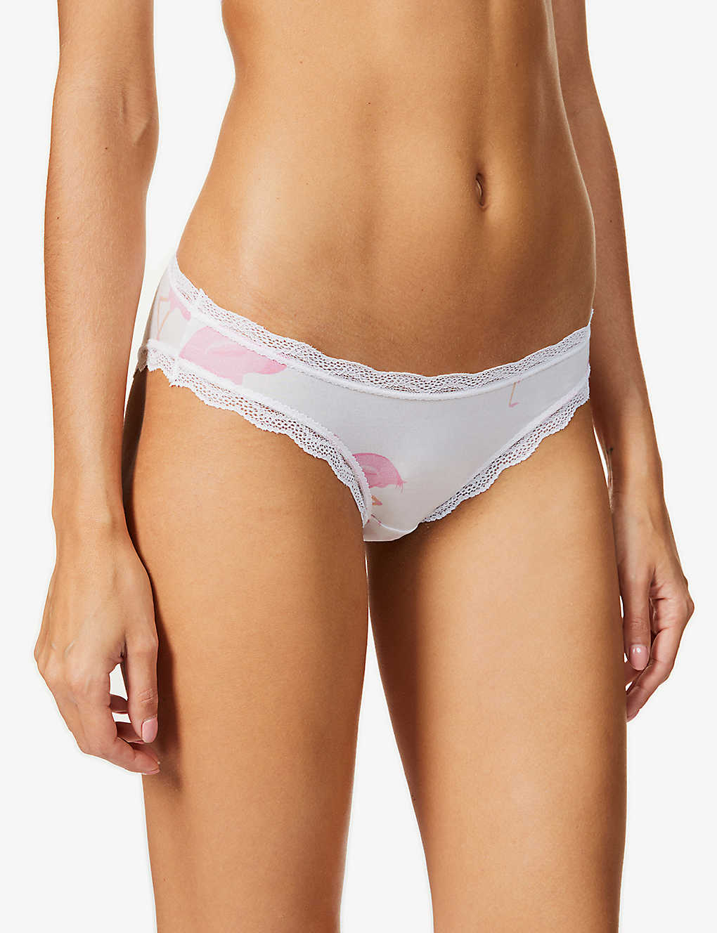 STRIPE & STARE: Flamingo-print high-rise briefs pack of four