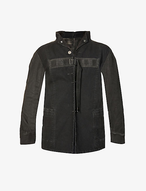 BORIS BIDJAN SABERI: Funnel-neck faded cotton-blend jacket