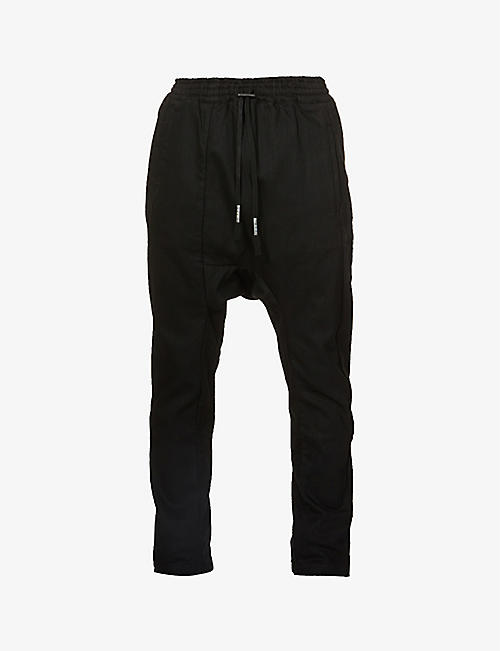 BORIS BIDJAN SABERI: Drawstring-waistband slim cotton-blend trousers