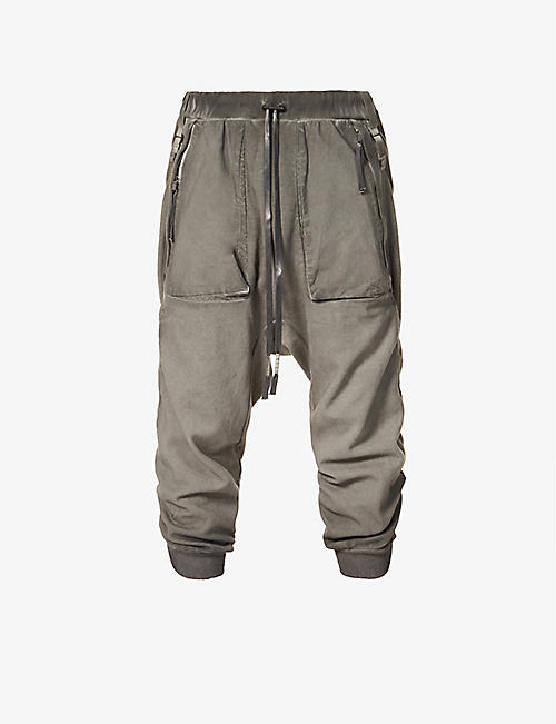 BORIS BIDJAN SABERI: Drawstring-waistband tapered cotton jogging bottoms