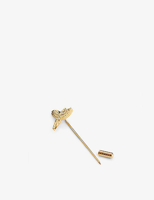 TED BAKER: Parrot gold-tone brass lapel pin