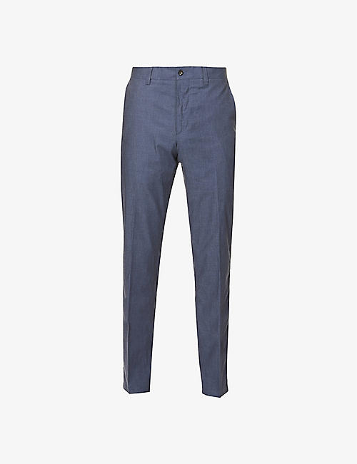 CORNELIANI: Regular-fit tapered linen and silk-blend trousers