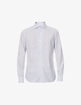 CORNELIANI: Circle and dot print cotton-poplin shirt