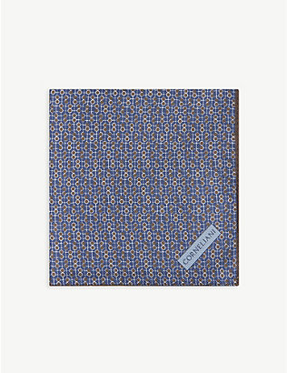 CORNELIANI: Circle-print silk pocket square