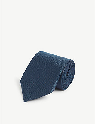 CORNELIANI: Square and mini-dot print silk tie