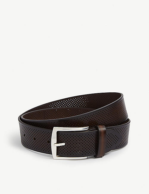 CORNELIANI: Perforated leather belt