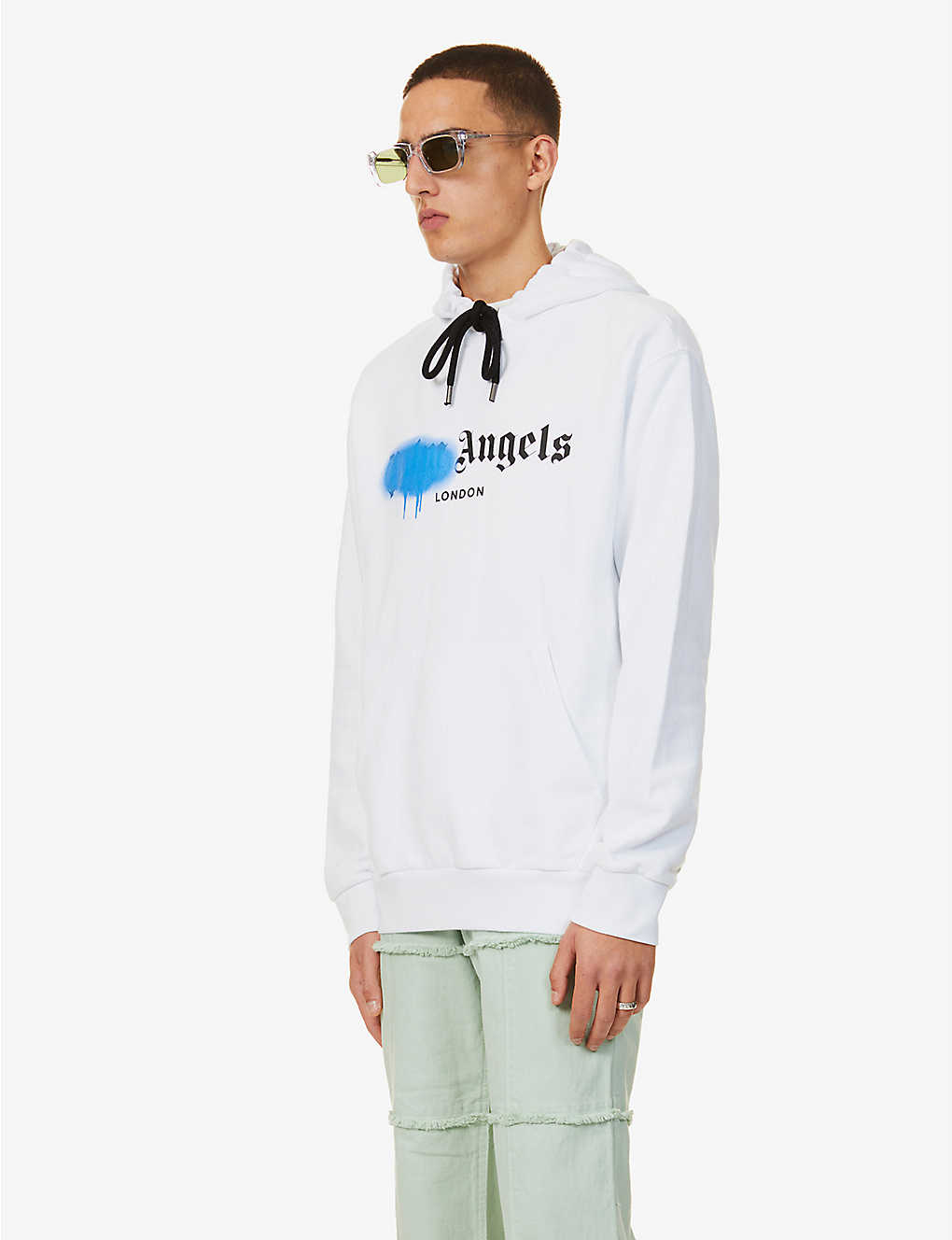 PALM ANGELS: Logo-print cotton-jersey hoody