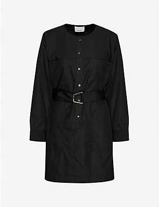 3.1 PHILLIP LIM: Dolman-sleeved belted cotton mini shift dress