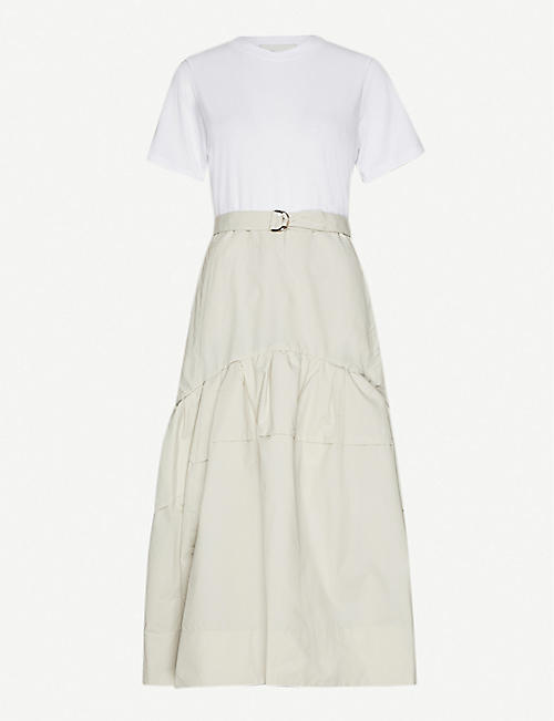 3.1 PHILLIP LIM: Belted cotton-jersey and cotton-blend midi dress