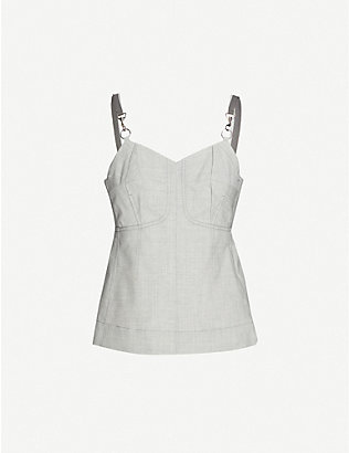 3.1 PHILLIP LIM: Sleeveless marled detachable-strap wool-blend top