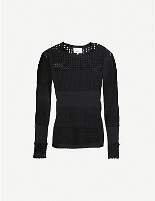 3.1 PHILLIP LIM: Long-sleeved slim-fit cotton-blend knitted jumper