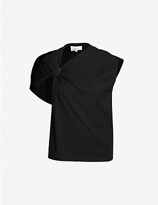 3.1 PHILLIP LIM: Asymmetric-neckline cotton-jersey T-shirt