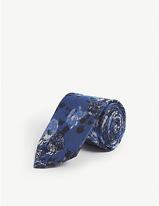 DUCHAMP LONDON: California Bouquet floral silk tie