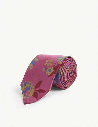 DUCHAMP LONDON: Carnation Floral silk tie
